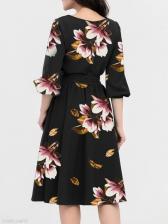Casual Floral Half Sleeve Tie-Wrap Ladies Dress