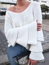 Ruffled Flare Sleeve Ribbed Ladies Sweater