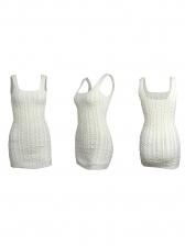 Deep U Neck Sleeveless White Sweater Dress