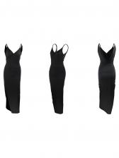 Low Cut High Split Hem Sleeveless Maxi Dress