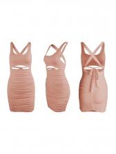 Cross Belt Backless Solid Sleeveless Mini Dress