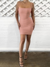 Sexy Draped Solid Sleeveless Mini Dress