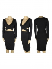 Sexy Low-Cut Hollow Out Solid Bodycon Dress
