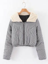Plaid Hooded Cotton Ladies Winter Coats