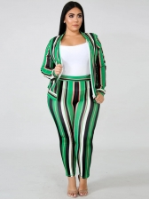 Stitching Color Leaves Stripes Plus Size Two Piece Sets