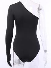 Inclined One Shoulder Long Sleeve Black Bodysuit