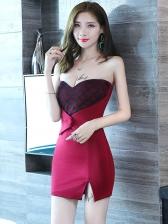 Low-Cut Plaid Strapless Mini Dress For Club