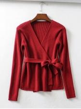 Lace Up v Neck Knit Sweater