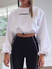 Letter Printed Cropped Long Sleeve Sweatshirt