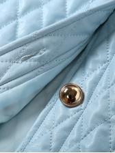 Single Breasted Thread Rhombus Blue Ladies Coats