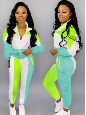 Casual Contrast Color Long Sleeve Womens Tracksuits