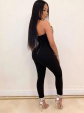 Sexy Tassel Decor Halter Skinny Jumpsuit