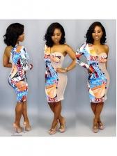 One Shoulder Gauze Panel Print Long Sleeve Dress