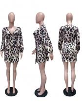 Sexy Low-Cut Lantern Sleeve Leopard Print Wrap Dress