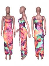 Euro Summer U Neck Tie-Dye Sleeveless Maxi Dress
