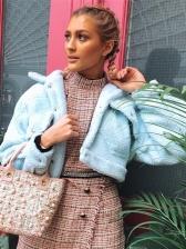 Fashion Turndown Collar Pockets Short Fur Coat