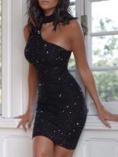 Glitter Cut-Out Sleeveless Sheath Dress