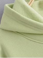 Solid Loose Long Sleeve Plain Hoodies