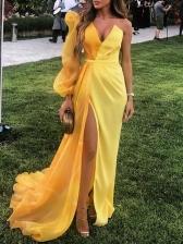 Stylish Yellow Split Puff Sleeve Evening Maxi Dresses