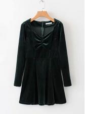 Vintage Style Smart Waist Long Sleeve Velvet Dress