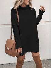 Winter Hot Sale Solid Long Sleeve Sweater Dress