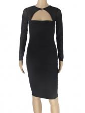 Low-Cut Gauze Panel Black Bodycon Dress