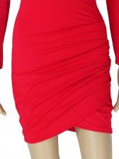 Backless Deep V Neck Long Sleeve Bodycon Dress