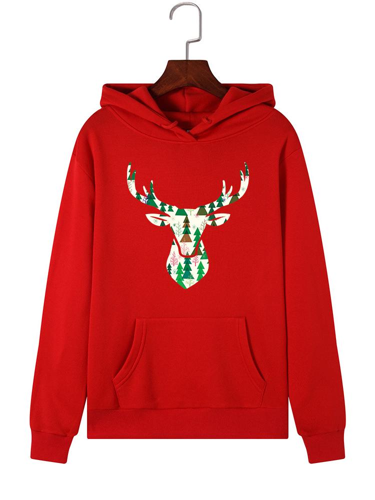 Christmas Deer Loose Long Sleeve Printed Hoodies