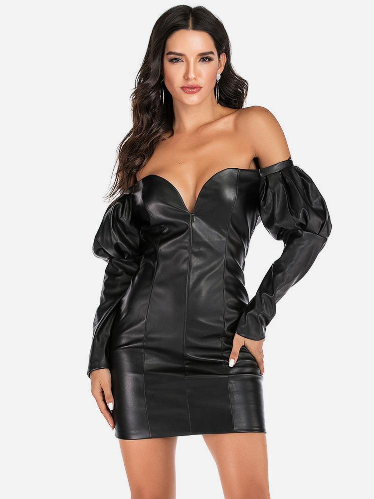 Leather Long Sleeve Off The Shoulder Dress