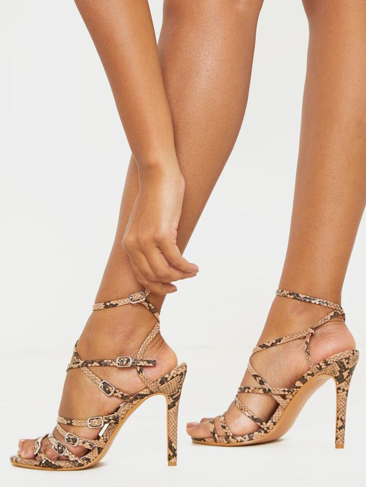 Multiple Buckles Crossed Belt Snake Print Summer Sandals