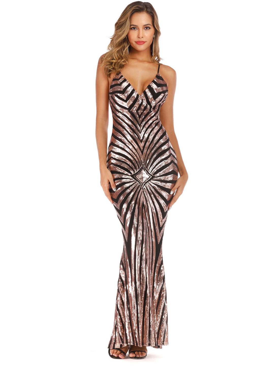 V Neck Backless Sequin Sleeveless Maxi Dress