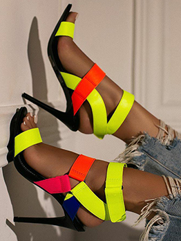Multiple Bright Color Stiletto Heels Ladies Sandals