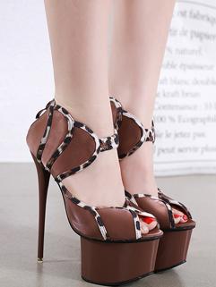 Leopard Print Stitching Peep-Toe Platform Stiletto Heels