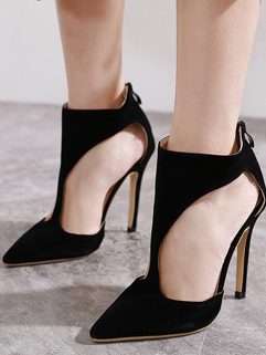Black Suede Back Zipped Hollow Out Stiletto Heels