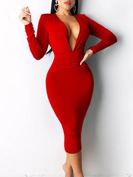 Solid Deep v Midi Long Sleeve Bodycon Dress