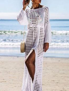 Beach Hollow Out High Split Knit Maxi Dress