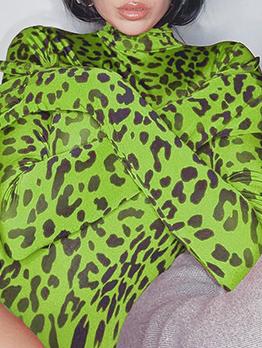 Turtle Neck Long Sleeve Leopard Print Bodysuit