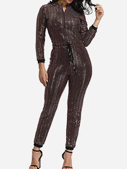 Classic Sequin Zip Up Long Sleeve Jumpsuit