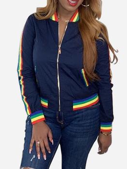 Rainbow Collar Patchwork Women Bomber Jacket