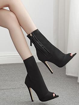 Side Zipped Peep Toe Stiletto Heeled Black Boots