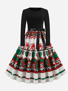 Vintage Christmas Printed Long Sleeve A Line Dress