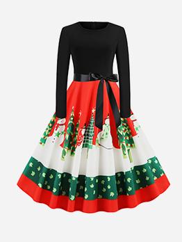 Christmas Crew Neck Printed Long Sleeve A Line Dress