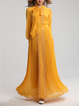 Tie Neck Long Sleeve Pleated Maxi Dress