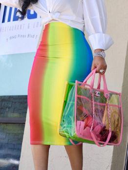 Rainbow Contrast Color Ladies Pencil Skirt