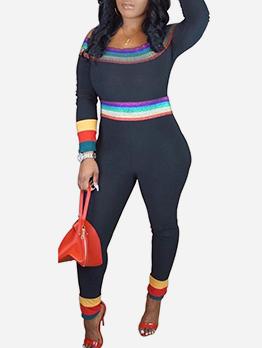 Rainbow Striped Patchwork Off The Shoulder Jumpsuit