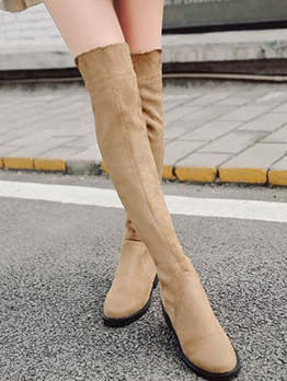 Winter Round Toe Suede Knee High Boots For Women