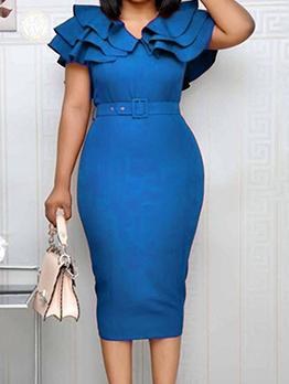 Solid Ruffled Short Sleeve Dress