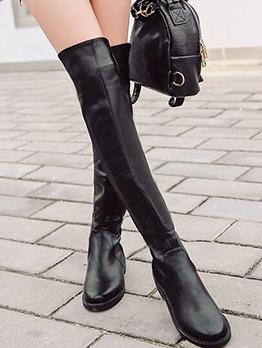 Simple Style Low Heel Pu Black Knee High Boots