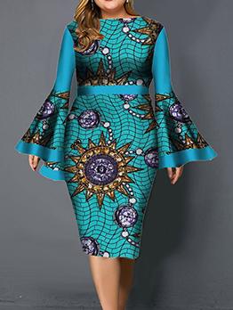 Printed Flare Sleeve Plus Size Dresses