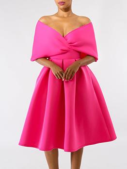 Sexy v Neck Solid Midi Dress